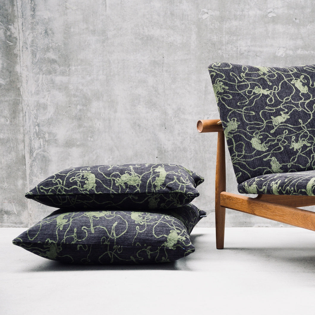 Black Moss Green Cushion「Social Pattern」Artwork by Michael Kvium