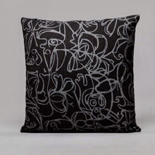 Load image into Gallery viewer, Black & Dark Grey Herringbone Cushion · Artwork by Asger Jorn