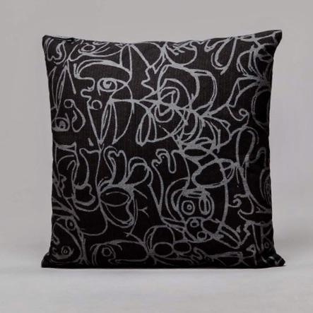Black & Dark Grey Herringbone Cushion · Artwork by Asger Jorn Front