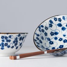 Load image into Gallery viewer, Blue Daisy Pattern Bowl On White Sushi Set