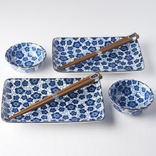 Load image into Gallery viewer, Blue & White Sushi Set Blue Plum Design