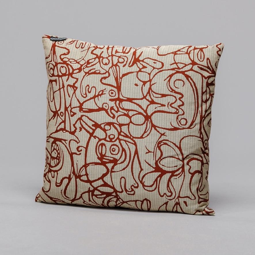 Cushion ∘ Herringbone Edition ∘ Twine Natural fabric with Henna artwork, €195, ASGER JORN · CURATED BY DOMICILECULTURE