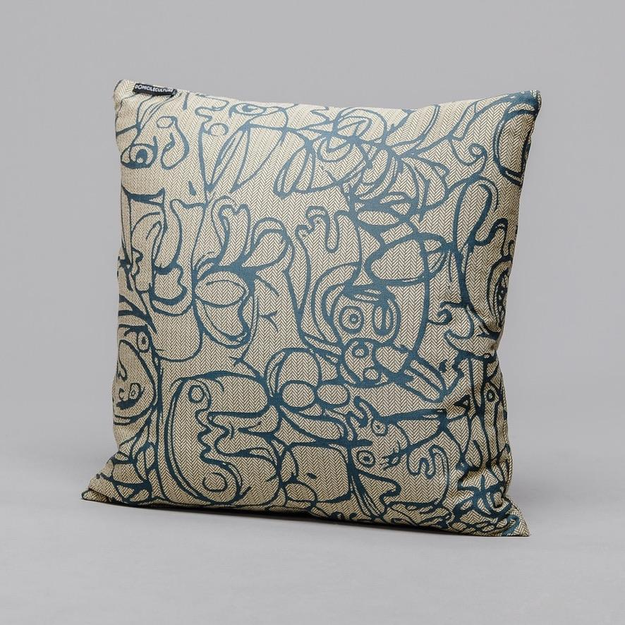 Cushion · Herringbone Edition · Twine Natural fabric with Henna artwork · €195 · Home & Garden > Decor > Chair & Sofa Cushions · ASGER JORN · CURATED BY DOMICILECULTURE | eyeds.se