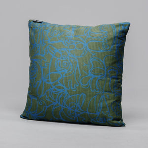 Cushion · Herringbone Edition · Forest Green fabric with Teal artwork · €195 · Home & Garden > Decor > Chair & Sofa Cushions · ASGER JORN · CURATED BY DOMICILECULTURE | eyeds.se