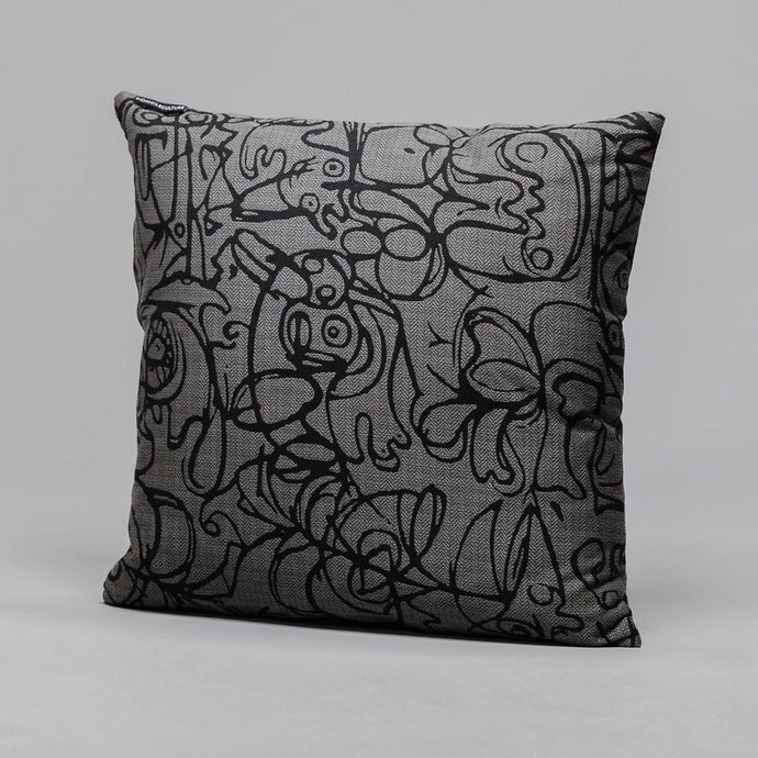 Dark Grey & Black Herringbone Cushion · Artwork by Asger Jorn Front