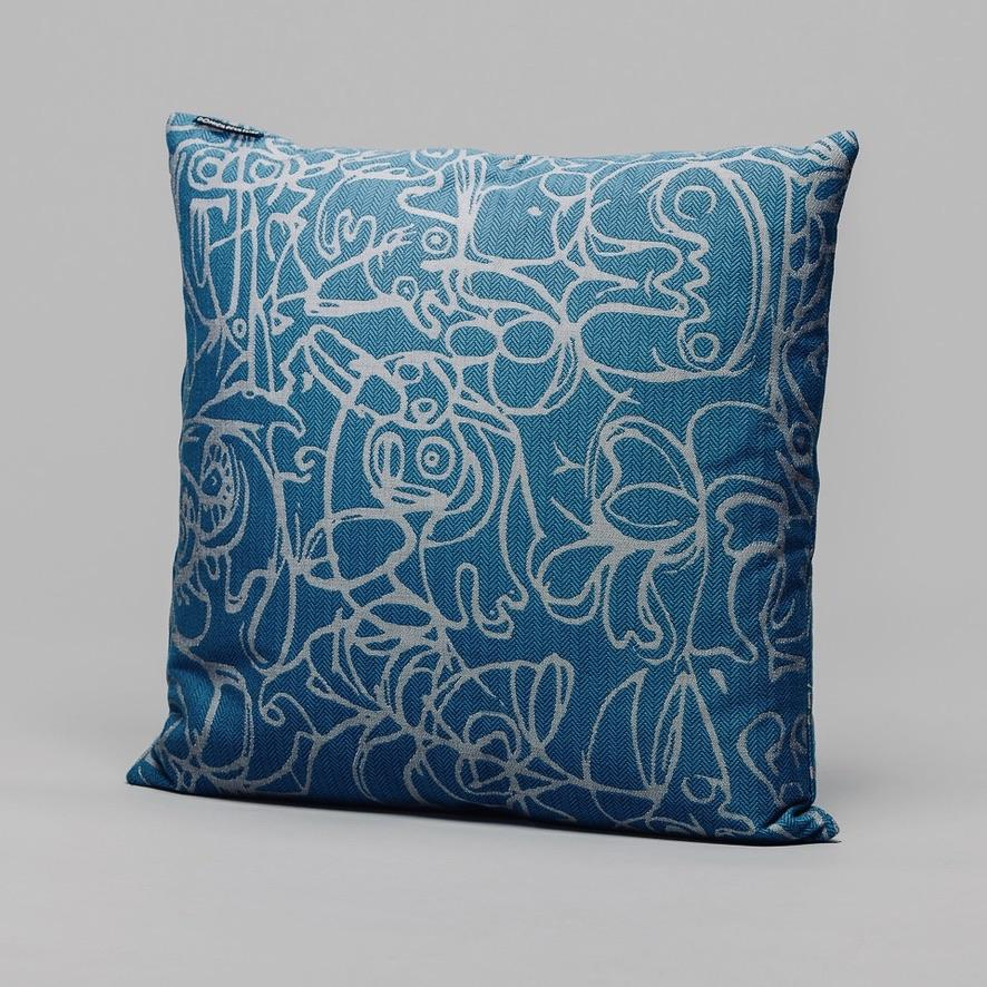 Cushion ∘ Herringbone Edition ∘ Azure Blue fabric with Silver Grey artwork, €195, ASGER JORN · CURATED BY DOMICILECULTURE