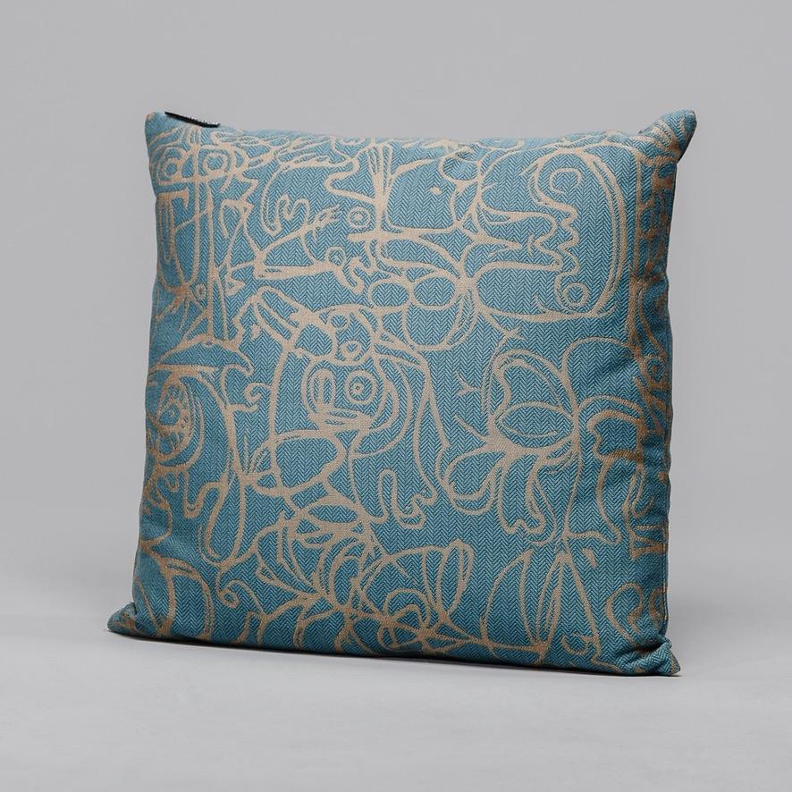 Cushion ∘ Herringbone Edition ∘ Teal Blue fabric with Camel artwork, €195, ASGER JORN · CURATED BY DOMICILECULTURE