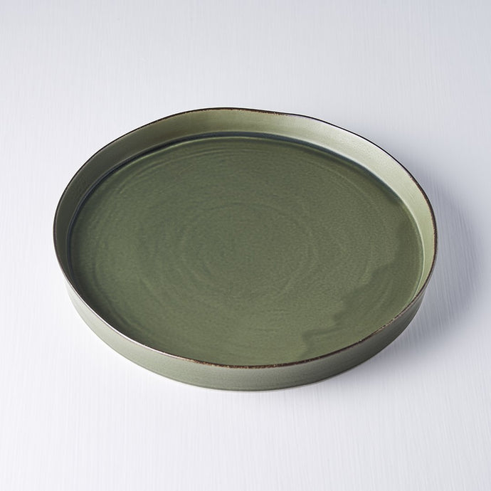 Forest Green Plate with High Rim 24cm