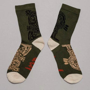 Socks · Forest Green · Linocut Artwork Edition · €17 · Clothing & Accessories > Clothing > Underwear & Socks > Socks · ASGER JORN · CURATED BY DOMICILECULTURE | eyeds.se