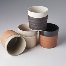 Load image into Gallery viewer, Grooved Mug Black & Dark Clay Base