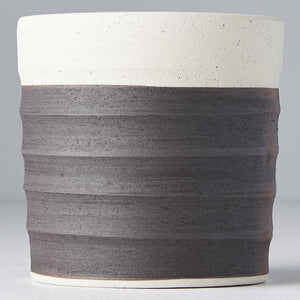 Grooved Mug White & Black Clay Base