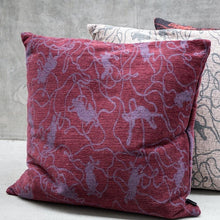 Load image into Gallery viewer, Maroon Cushion「Social Pattern」Artwork by Michael Kvium