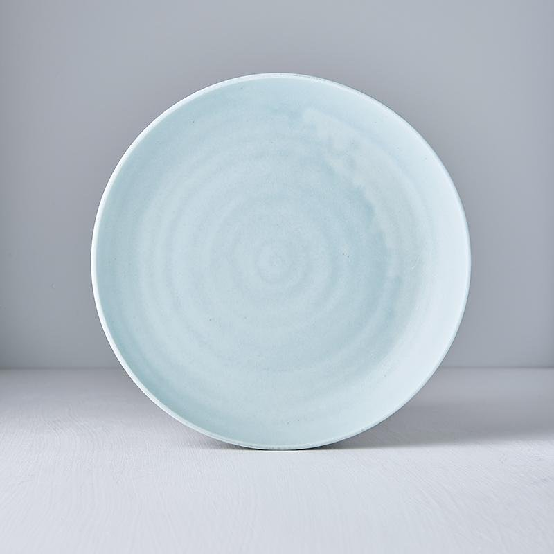 Matt Aqua Plate with High Rim 25cm