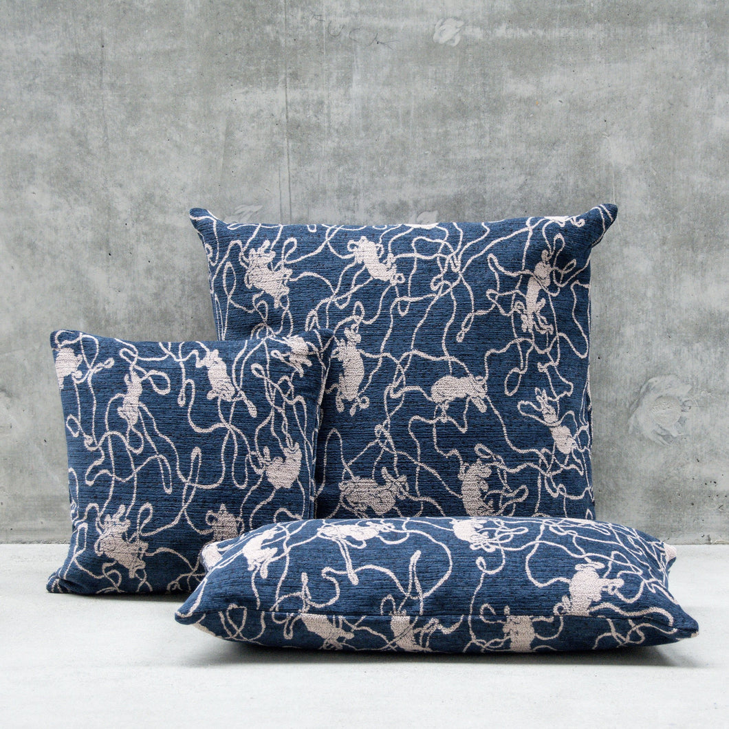 Navy Blue Cushion「Social Pattern」Artwork by Michael Kvium