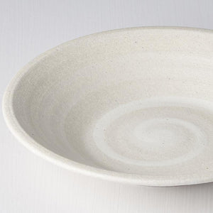 Recycled White Sand Shallow Bowl 23cm
