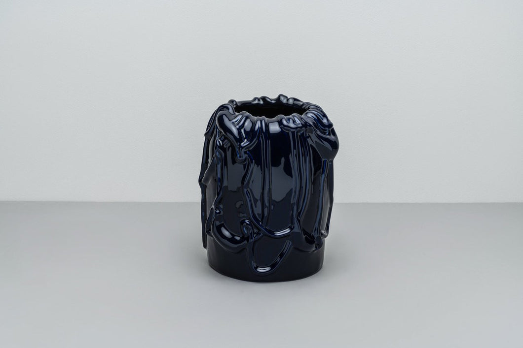 「The Absurd Made Flesh」Vase in Deep Cobalt · by Michael Kvium