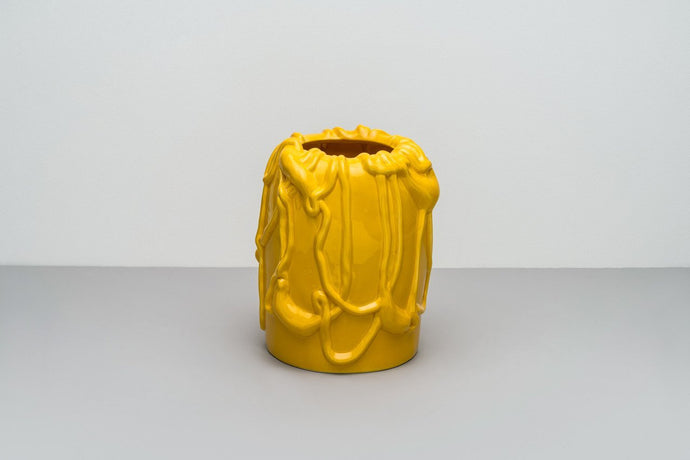 「The Absurd Made Flesh」Vase in Empire Yellow · by Michael Kvium