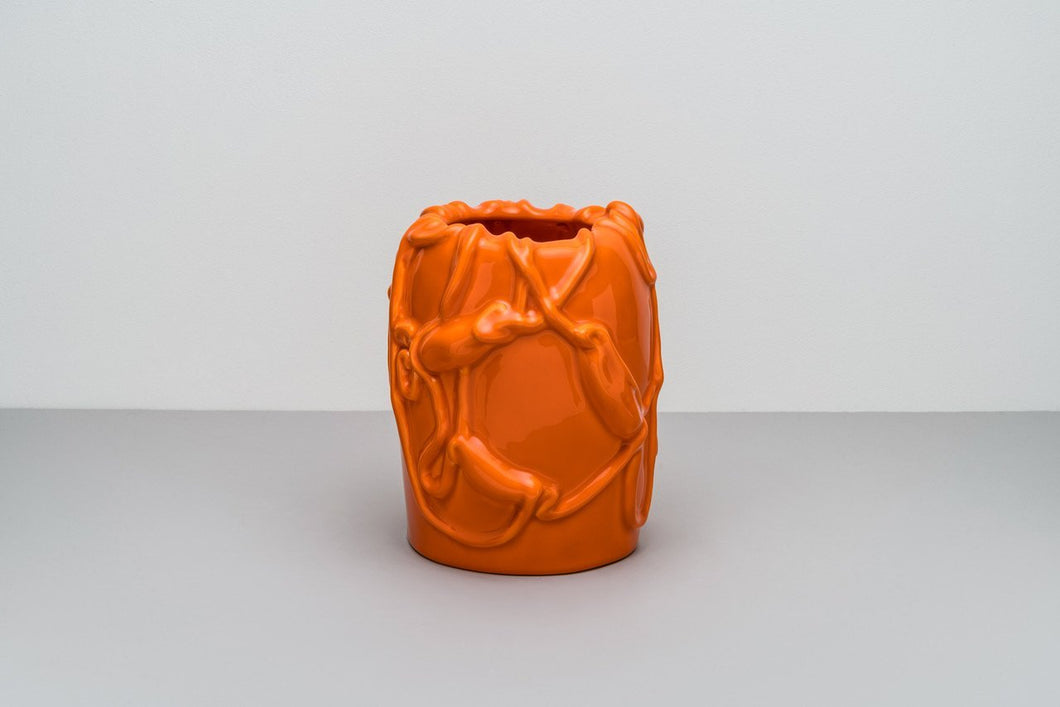 「The Absurd Made Flesh」Vase in Persimmon Orange · by Michael Kvium · €220 · Home & Garden > Decor > Vases · RAAWII · CURATED BY EYEDS | eyeds.se