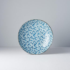 Uneven Medium Blue Daisy Shallow Bowl 21cm