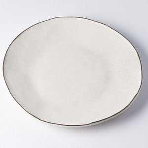 Uneven Off-White Plate with a Dark Rim 26.5cm
