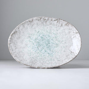 Uneven Oval Plate Aqua Splash 24cm
