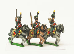 AST33 Austrian Cavalry 1805-14: Command: Lancer Officer, Standard Bearer & Trumpeter