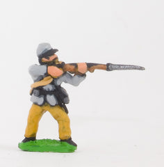 BG1 Union or Confederate: Infantry in Kepi & Tunic, with blanket roll: Firing (fixed bayonet)