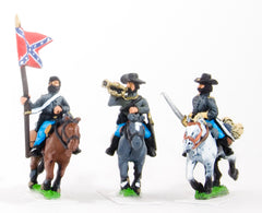 BG59H Union or Confederate: Command: Officer, Standard Bearer & Bugler in Slouch Hat on charging horses