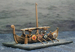 BOAT 1 Viking Style Boat with single furled sail. Suitable for most Dark Age warband armies (Saxon, German, Dacian, etc.)