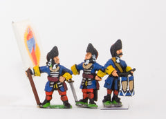 BRO13 European Armies: Command: Officer, Standard Bearer & Drummer in Fur Cap