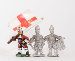 BRO19 European Armies: Command: Officer, Standard Bearer & Drummer in Mitre with Falling Bag (English / Danish)