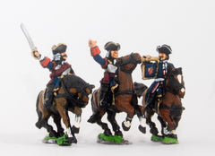 BRO34 European Armies: Command: Cuirassier Officer, Standard Bearer & Trumpeter in Tricorne