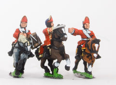 BRO55 European Armies: Command: Mounted Grenadier Officer, Standard Bearer & Drummer (English)