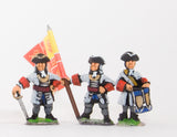 BRO5a European Armies: Command: Officer with Half Pike, Standard Bearer & Drummer