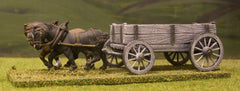 C&W2 Four Wheeled Open Wagon with 2 Horse Team
