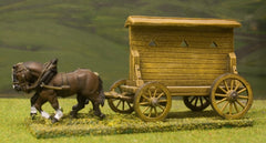 C&W3 Four Wheeled Flatbed War Wagon & Large Mantlet with loopholes for crossbowmen or arquebusiers, with 2 horse team