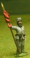 CON7 Confederate Infantry: Assorted Sergeant Standard Bearers holding Furled Standard, at ease