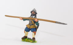ECW52 Generic ECW/30YW Infantry: Pikeman, Back & Breast Plates, assorted Helmets, with Pike forward