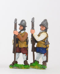 ECW59 Generic ECW/30YW Infantry: Musketeers, at the ready, with assorted Helmets