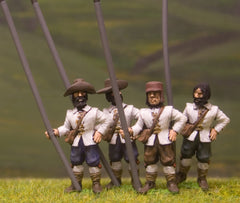 ECW62 Generic ECW/30YW Infantry: Pikeman, no armour, in assorted Hats & Caps, with Pike upright