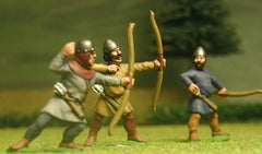 F14 Early Medieval: Archer, firing, with assorted helmets and bare heads