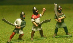 F17 Early Medieval: Two Handed Swordsman in Gambeson & Helmet, advancing