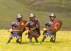 F18 Early Medieval: Spearman in Scale Corselet & Helmet with Shield, advancing, assorted poses