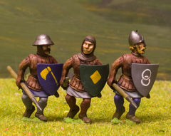 F16 Early Medieval: Spearman In Gambason & Helmet with Shield, advancing, assorted heads