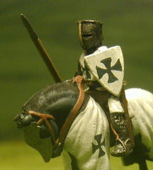F3 Early Medieval: Mounted Knight c.1250 in mail surcoat, Flat topped barrel helm