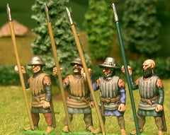 F59 Early Medieval: Shieldless Spearman in Quilted Jack, with assorted heads