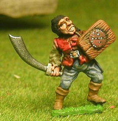 FAN12 Adventurer: Fighter in Leather Jack, with Wooden Shield & Scimitar