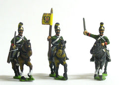 AST31 Austrian Cavalry 1805-14: Command: Dragon: Officer, Standard Bearer & Trumpeter