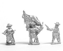 BG34 Confederate: Command: Officer, Standard Bearer and Drummer, stationary