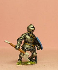 M37 Dismounted Knight c.1420 in Plate Armour & visored Helmet, Mail Aventail